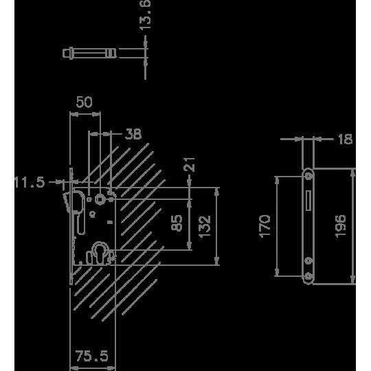 Zamek magnetyczny 2868 85 na wkładkę nikiel