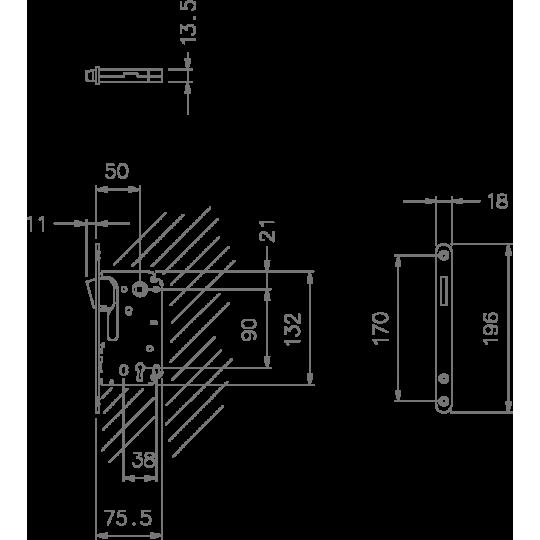 Zamek magnetyczny 2867 90 klucz nikiel