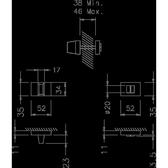 Rozeta WC 4075 RT Tupai szyld prostokątny chrom polerowany