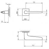 Klamka Tupai 4164Q 5S 03 szyld kwadratowy chrom błyszczący