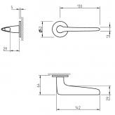 Klamka Tupai 4163R 5S 153 szyld okrągły czarny