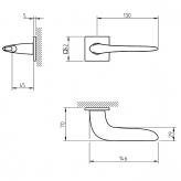 Klamka Tupai 4163Q 5S 96 szyld kwadratowy chrom szczotkowany