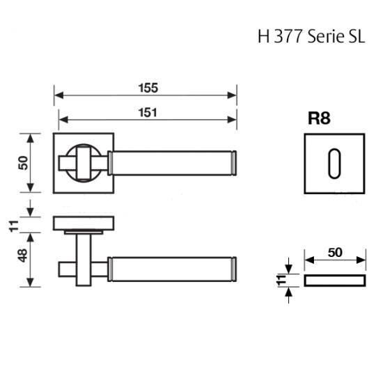 Klamka H 377 SL Fusital tytan