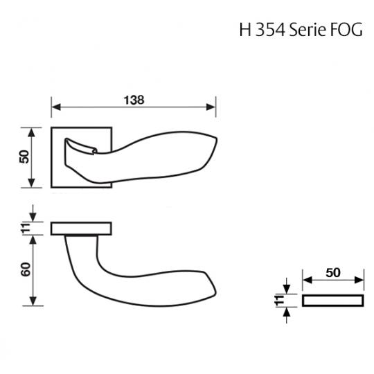 Klamka H 354 Fusital złoty