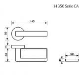 Klamka H 350 Fusital chrom błyszczący