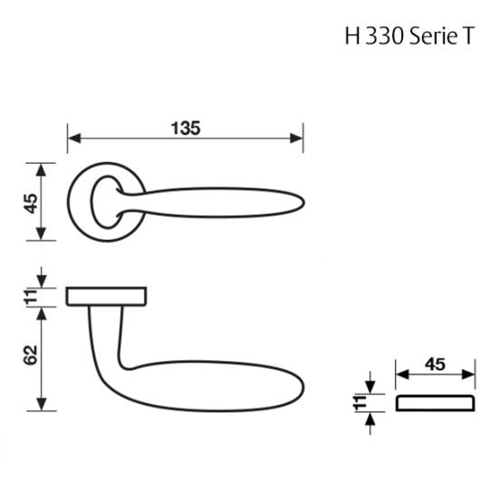 Klamka H 330 Fusital chrom satyna