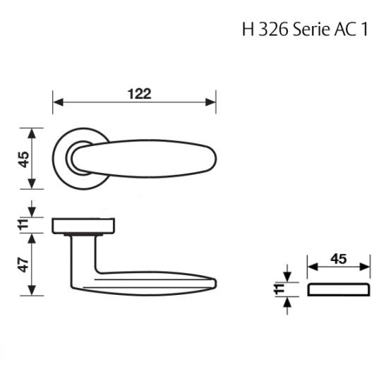 Klamka H 326 Fusital złoty
