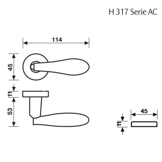 Klamka H 317 Fusital złoty