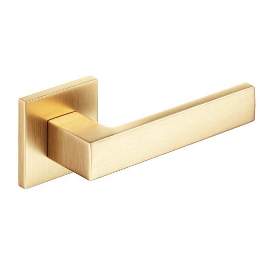 Klamka Focus Slim szyld kwadratowy, mosiądz mat