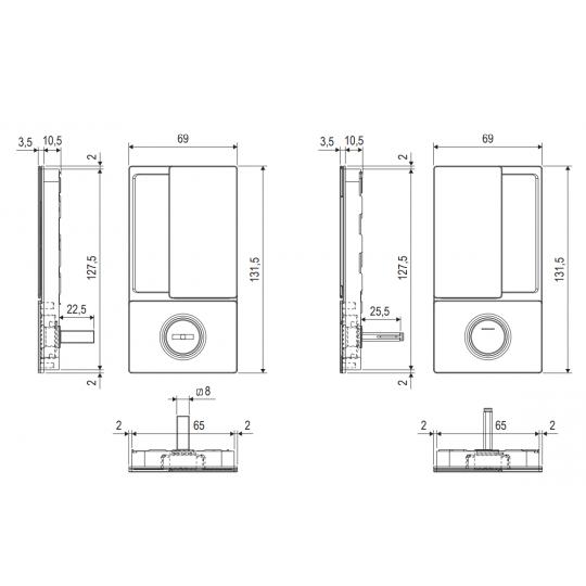 Klamka drzwiowa WAVE WC czarna + zamek magnetyczny Polaris Wave