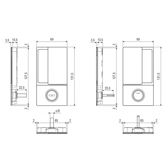 Klamka drzwiowa WAVE WC biała + zamek magnetyczny Polaris Wave
