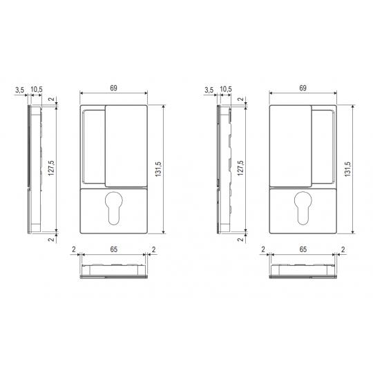 Klamka drzwiowa WAVE na wkładkę Anodowane srebro + zamek magnetyczny Polaris Wave