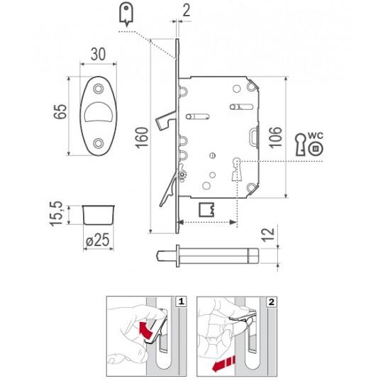 Zamek WAVE Scivola Tre Class WC chrom matowy