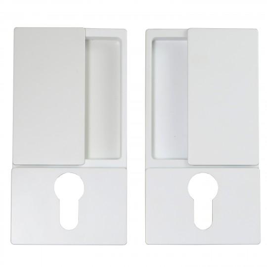 Klamka drzwiowa WAVE na wkładkę biała + zamek magnetyczny Polaris Wave