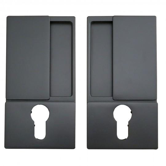 Klamka drzwiowa WAVE czarna + zamek magnetyczny Polaris Wave