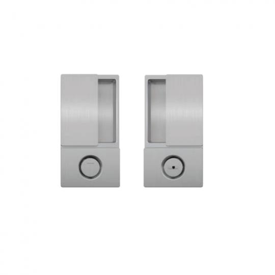 Klamka drzwiowa WAVE WC chrom matowy + zamek magnetyczny Polaris Wave