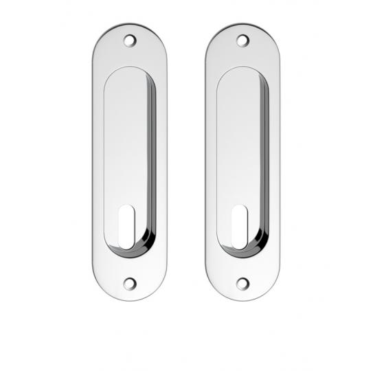 Zestaw owalny do drzwi przesuwnych- chrom