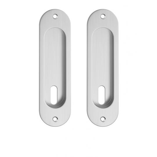 Zestaw owalny do drzwi przesuwnych- chrom szczotkowany